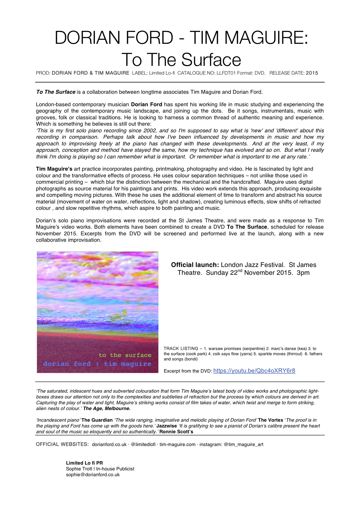 TO THE SURFACE PRESS RELEASE 2015